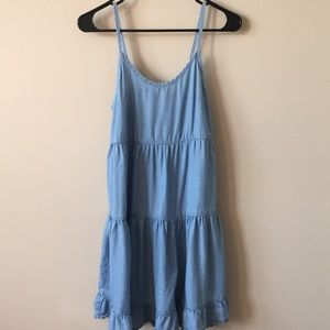 Tiered Chambray Babydoll Dress